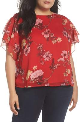 Vince Camuto Tiered Ruffle Sleeve Garden Floral Top