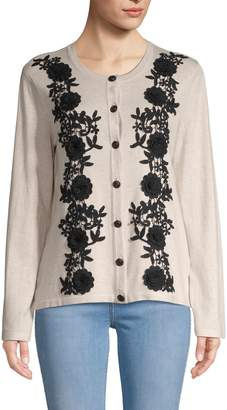 Karl Lagerfeld Paris Floral Lace-Trimmed Sweater