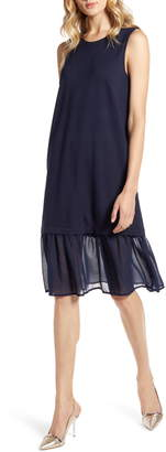 Halogen Sleeveless Ponte Chiffon Hem Dress