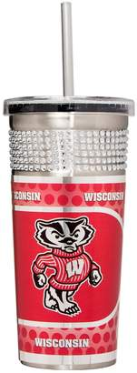 Wisconsin Badgers Bling Stainless Steel Straw Tumbler