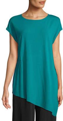 Eileen Fisher Jewel-Neck Viscose-Jersey Top, Plus Size