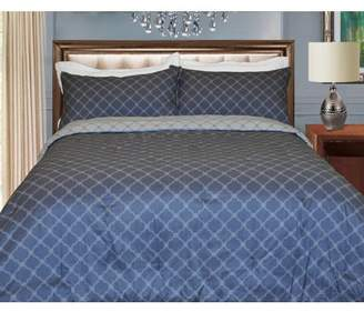 Natural Comfort Microfiber Reversible Comforter Set, Queen/French Mediterranean