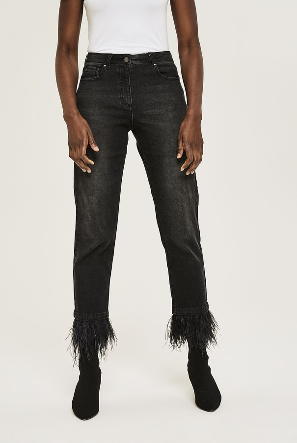Long Tall Sally Feather Trim Ankle Grazer Jean