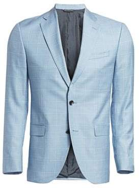 Saks Fifth Avenue COLLECTION Wool & Silk Windowpane Plaid Sportcoat