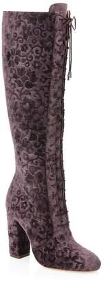 Alice + Olivia Women's Vesey Embossed Velvet Boots