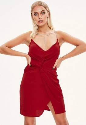 Missguided Red Plunge Diamante Strap Dress