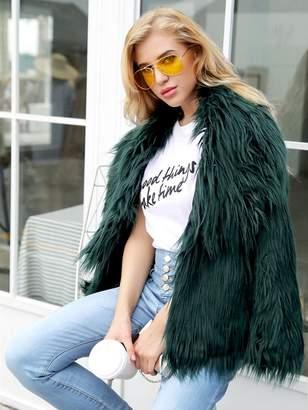 7fe1435582 Shein Solid Faux Fur Outerwear