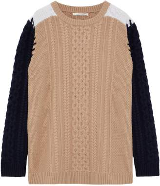 Chinti and Parker Color-block Cable-knit Wool Sweater
