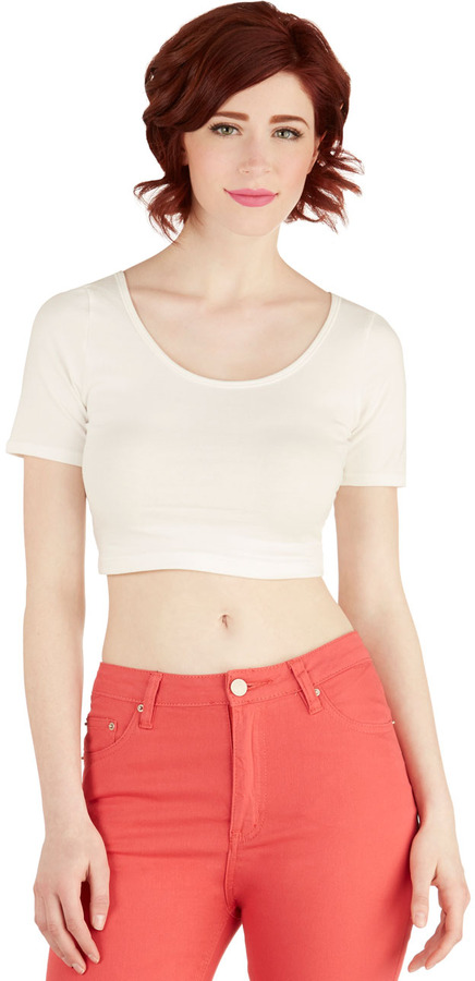 On Crop of the World Top in White