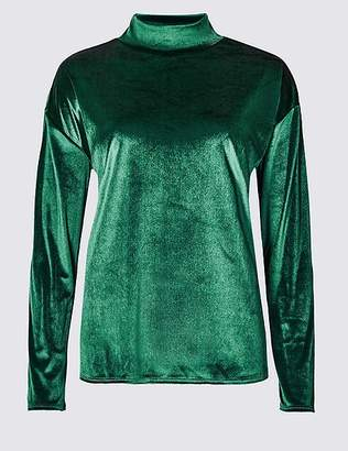 Marks and Spencer Velvet Funnel Neck Long Sleeve Top
