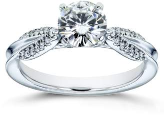 Victoria's Secret Kobelli Unique Round Moissanite and Diamond Engagement Ring 7/8 CTW 14k White Gold (/VS, GH/I), 7.5
