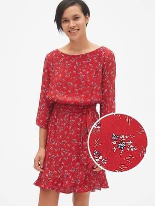Gap Floral Print Faux-Wrap Ruffle Hem Dress