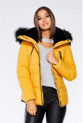 Quiz Mustard Padded Faux Fur Jacket