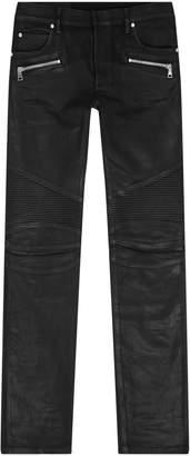 Balmain Coated Biker Slim-Fit Jeans