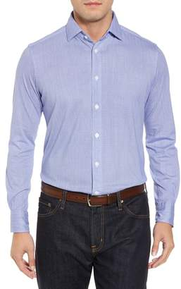 Thomas Dean Herringbone Knit Sport Shirt