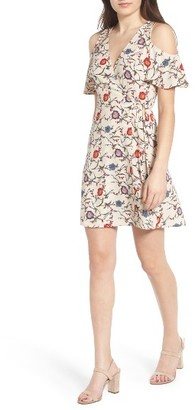 Women's Lush Floral Print Cold Shoulder Wrap Dress $49 thestylecure.com