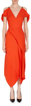 Roland Mouret Cotness Asymmetric-Drape V-Neck Dress