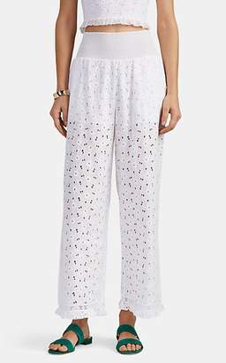 Kisuii Women's Jacqueline Cotton Floral Eyelet Wide-Leg Pants - White