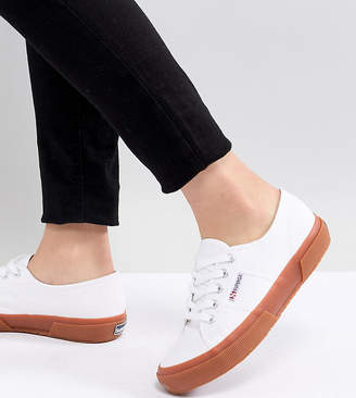 Superga 2750 Classic Canvas Sneakers In White With Gum Sole