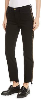 Frame Le High Straight Stagger-Hem Jeans with Velvet Stripes