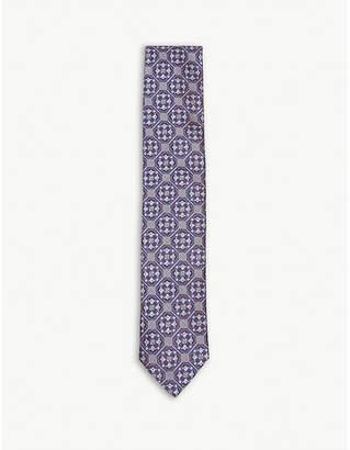 Eton Tile pattern silk tie
