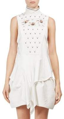 Chloé T-Neck Eyelet Top