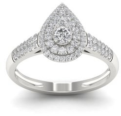Imperial Star 1/2ct TDW 10k White Gold Diamond Pear Shape Halo Bridal Set