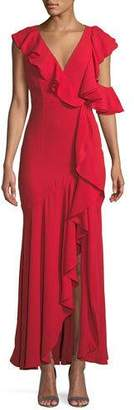 Fame & Partners Vionna V-Neck Sleeveless Draped Ruffled Evening Gown