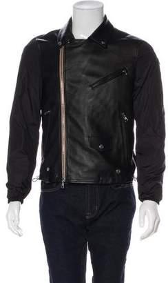 Moncler 2016 Alexandre Leather-Accented Moto Jacket