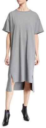 Eileen Fisher Short-Sleeve Heathered Organic Cotton High-Low Dress
