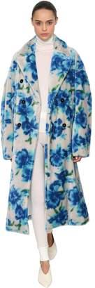 Jil Sander Floral Printed Mohair Blend Plush Coat