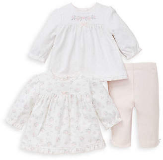 Little Me Baby Girl's Three-Piece Dainty Cotton Tunic and Pants Set