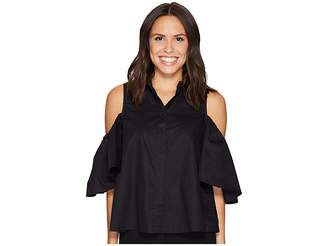 Catherine Malandrino Cold Shoulder Collared Shirt Women's Clothing
