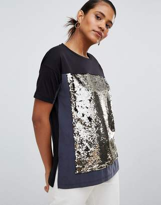 French Connection Oversized T-Shirt with Sequin Panel