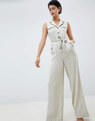 Asos Design DESIGN Stripe Belted Tux Jumpsuit