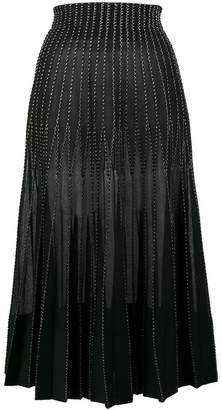 Alexander McQueen Metallic embroidered silk maxi skirt