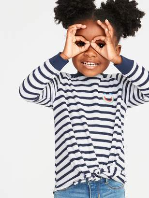Old Navy Striped Graphic Loop-Terry Tie-Hem Top for Toddler Girls
