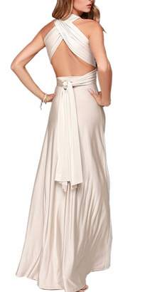 Sexyshine Women's Gown Halter Cocktail Bandage Bridesmaid Long Dress (BW,XL)