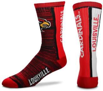 For Bare Feet Adult Louisville Cardinals Bar Stripe Crew Socks