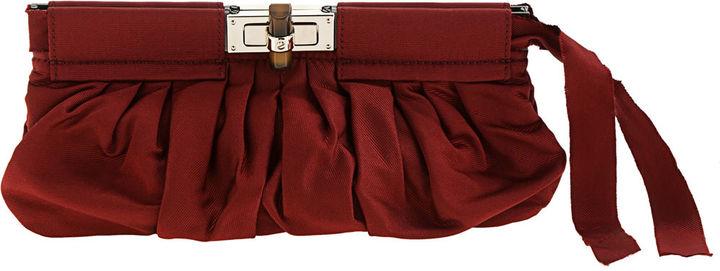 Lanvin Drape Pochette Ottoman Cluch - Red