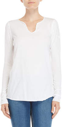 Zadig & Voltaire White Tunys Embroidered Henley Tee