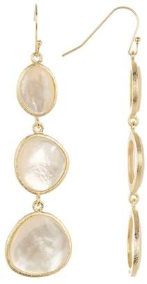 Rivka Friedman 18K Gold Clad Mother Of Pearl Triple Drop Hook Earrings
