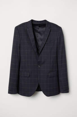 H&M Skinny Fit Checked Blazer - Blue