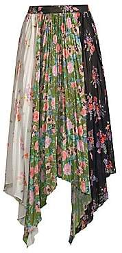 AMUR Women's Mica Floral Pleated Patchwork Handkerchief Midi Skirt