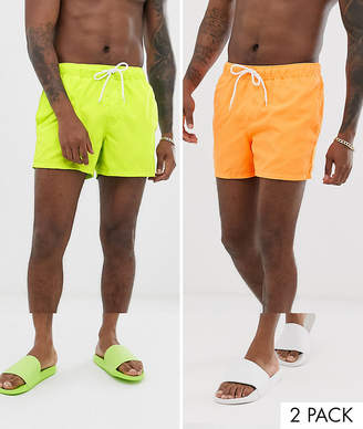 c47050a94d92a Asos Design DESIGN swim shorts in short length in neons 2 pack
