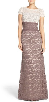 Women's Adrianna Papell Colorblock Lace Gown $199 thestylecure.com