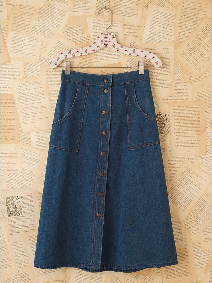 Vintage Snap Front Denim Skirt