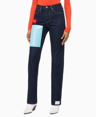 Calvin Klein CKJ 030 high rise straight logo jeans