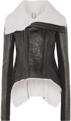 Rick Owens - Leather-trimmed Shearling Biker Jacket - Black $4,230 thestylecure.com