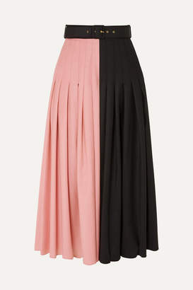 Emilia Wickstead The Woolmark Company Belted Two-tone Pleated Merino Wool Midi Skirt - Pink